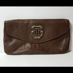Tommy Hilfiger Brown Leather Clutch
